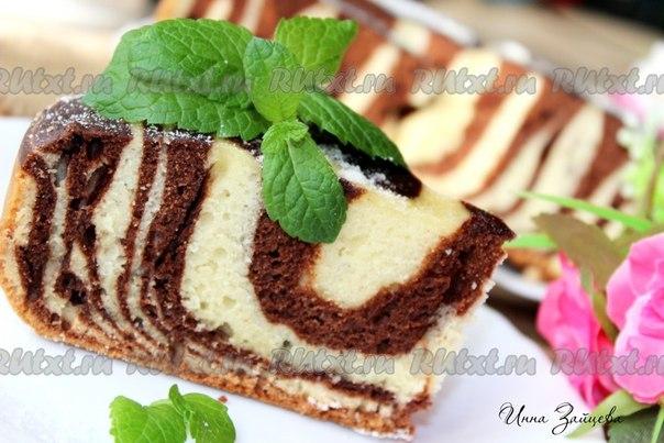 Пирог на сметане зебра рецепт