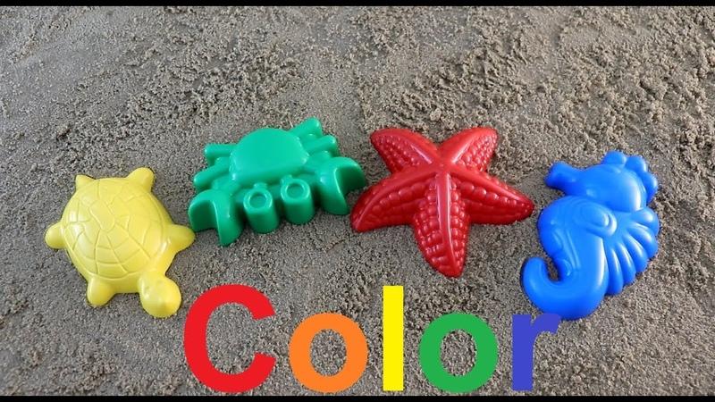 Learn Colors for Children colored sand molds marine inhabitantsучим цвета