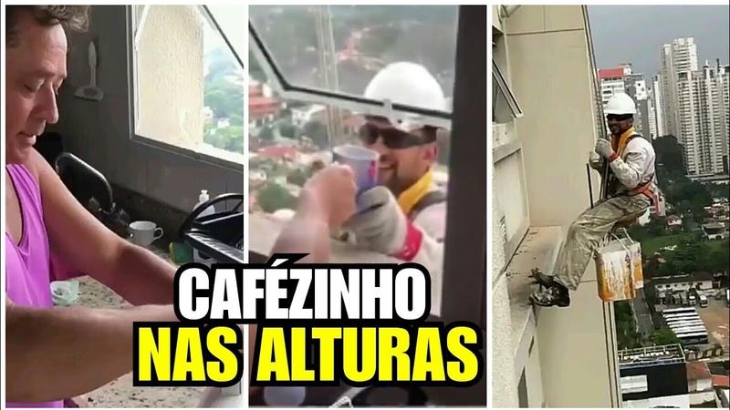 Cantor Leonardo serve café para trabalhador pendurado em prédio