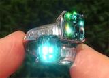 GIA Certified Natural VVS Blue Zircon Diamond PLATINUM Cocktail Estate Ring GEM - C789