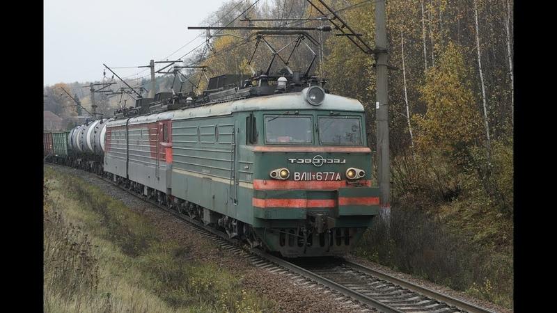 ВЛ11.8 677 с приветливой локомотивной бригадой с грузовым поездом золотой осенью.