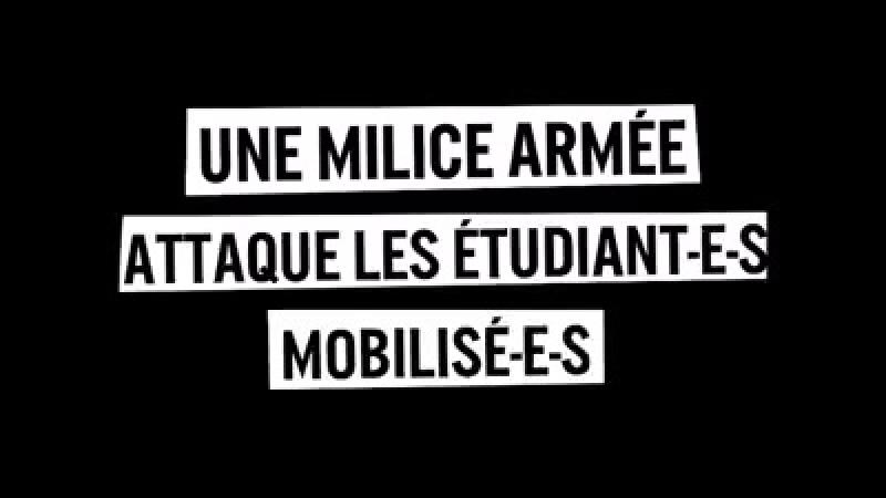 MACARON S'ÉNERVE ET ENVOIE SA MILICE LDJ ! Montpellier : une milice cagoulée attaque le mouvement étudiant