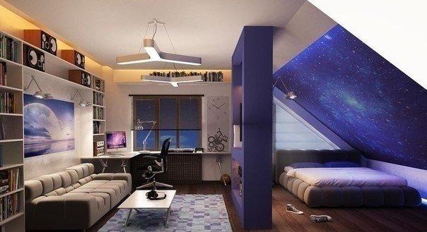 Оригинальное дизайнерское решение для мансардной комнаты