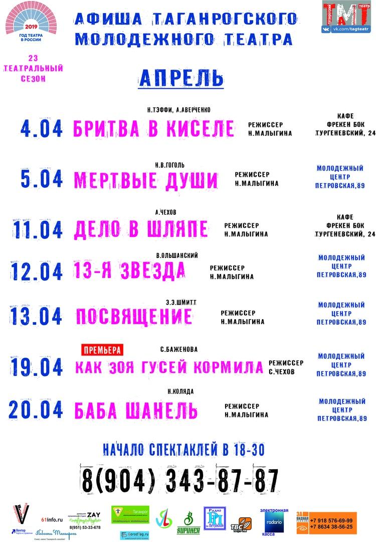 Афиша спектаклей в АПРЕЛЕ. Молодежный театр Нонны Малыгиной