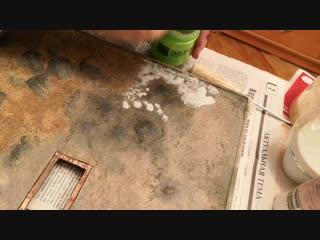 Присыпка песком на ПВА