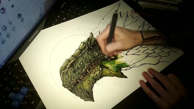 Dragon by alexQwait part.1 speed painting