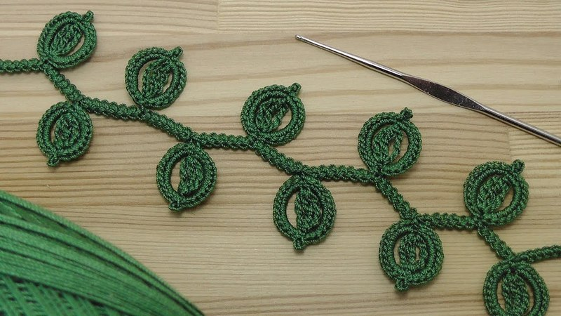 Урок вязания ЛЕНТОЧНОГО КРУЖЕВА с листиками на основе шнура