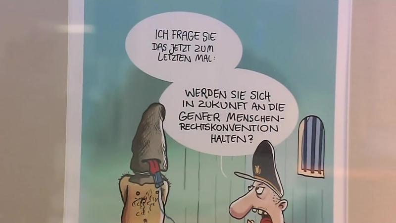 Die besten Karikaturen zeigt die Volksbank Pirna
