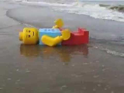 Giant Lego Man washed ashore in Zandvoort