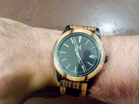 Mens Wooden Watches 50M Waterproof Watch Two Tone Steel Wood Wrist Watch 5ATM Water Resistant Vintag