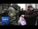Classy Ukrainian Thugs Throw Trash Bags and Condoms at Russian Consulate in Odessa