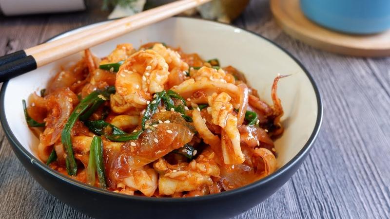 Super Easy Korean Spicy Squid Prawns Stir Fry 韩式香炒海鲜 Gochujang Seafood Calamari Shrimp Recipe