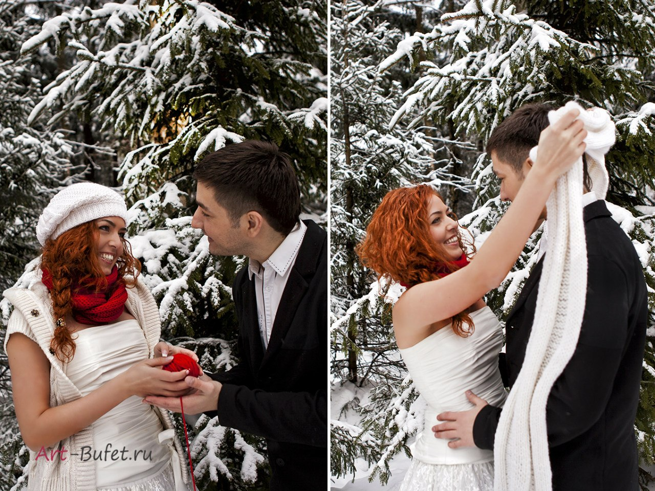 зимняя свадебная фотосессия красно-белая