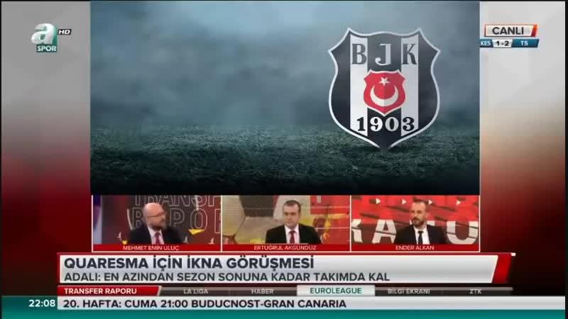 Beşiktaş Transfer Raporu Quaresma ve Adriano Ayrılıyor Mu Uluç Ender Alkan