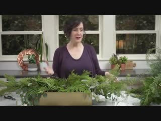 How to Create a Holiday Arrangement with Fresh Greens and Crepe Paper Flowers.mp4