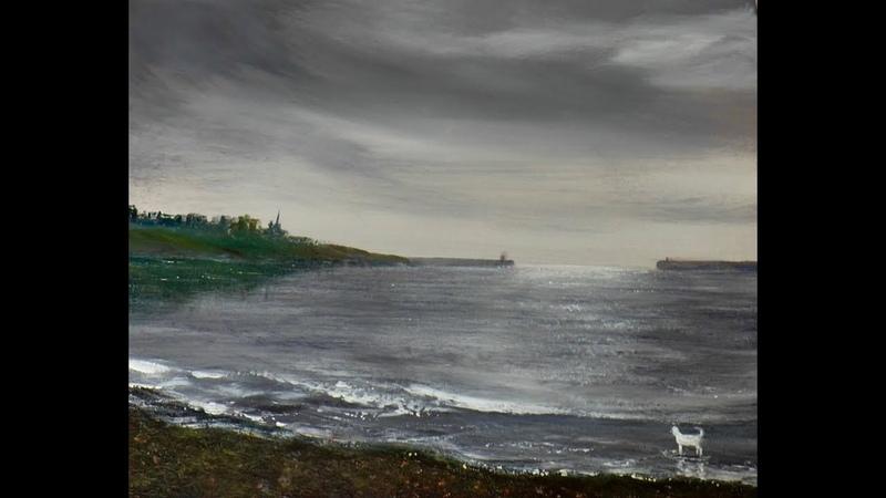 Небо перед дождем. Гравий.Блики на воде. Акрил. The mouth of the River Tyne in acrylic. Pebbles
