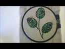 Лист вышитый лентами петельным швом / Ribbon embroidered looped seam sheet