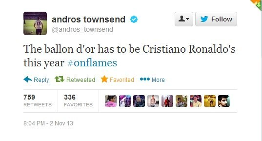 #Twitter Андроса Таунсенда:  «Золотой мяч» в этом году...