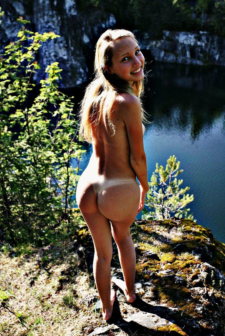 Naked russian girl tanning outdoors
