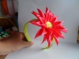 Мастер класс Как сделать ободок с цветком хризантемы Канзаши chrysanthemum kanzashi