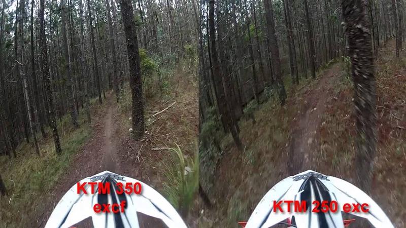 KTM 350 excf vs KTM 250 exc - Same Rider, Same Track and side-by-side comparison!