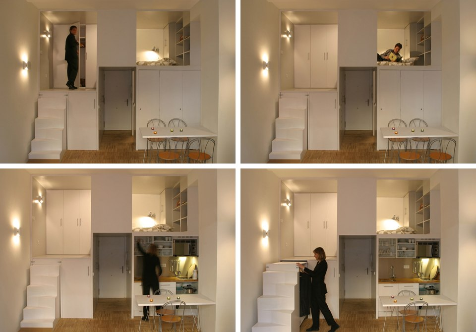 Вертикальное зонирование квартиры-студии 28 м в Мадриде / Испания - http://kvartirastudio.