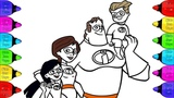 Incredibles Coloring pages How to Coloring Incredibles-2 Family Step by Step Incredibles-2