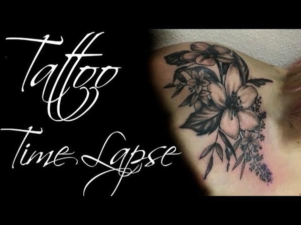 Flowers Tattoo - Time Lapse | Процесс тату | Как я делаю тату | Чб тату