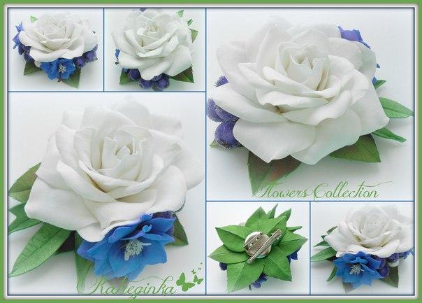 Брошь-зажим Белая роза и цветы дельфиниума выполнен из фоамирана…….. (1 фото) - картинка
