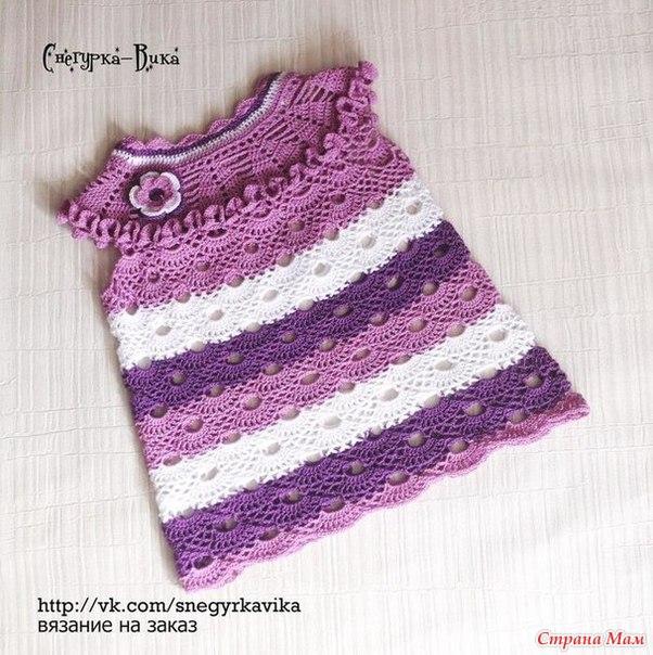 Детское платье крючком. Вязание онлайн… (9 фото) - картинка