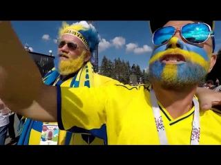 Шведские и швейцарские болельщики братаются перед стадионом на Крестовском