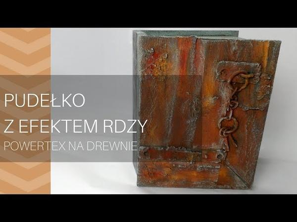 Drewniane pudełko z imitacją zardzewiałych drzwi, powertex