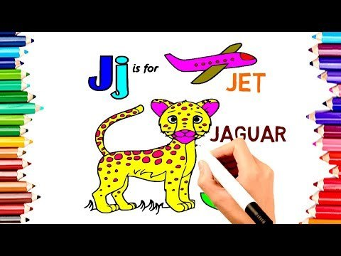 TEACH CHILDREN DRAW ALPHABET J FOR JAGUAR COLORING BOOK | KIDS LEARN ENGLISH COLORS PAGES VIDEO197