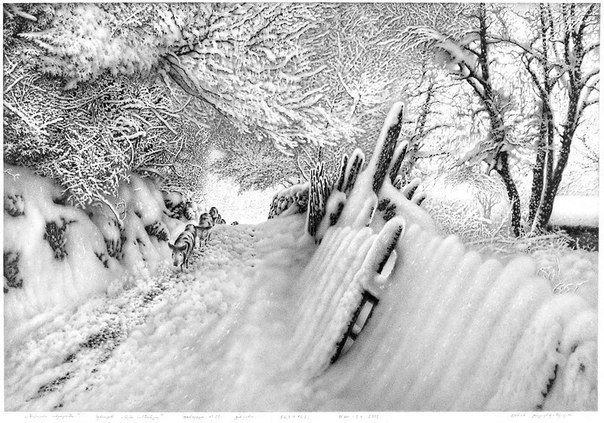 Рисунки снега простым карандашом Художник Гурам Доленджашвили