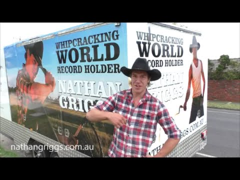 Nathan Griggs, World Record, Most whip cracks in one minute with two whips 614 cracks!!