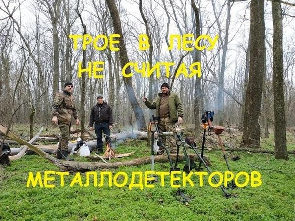 Зимний коп Трое в лесу не считая металлодетекторов