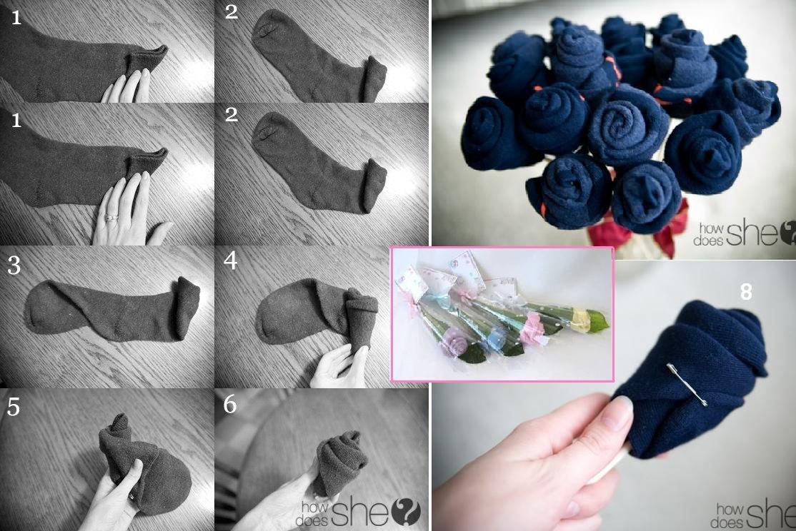 Букеты из носков для мужчины своими руками пошагово фото 65