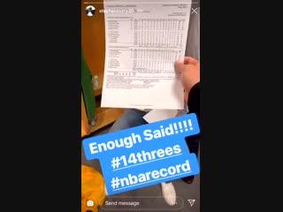 Стефен Карри разместил видео в честь рекорда Клэя Томпсона