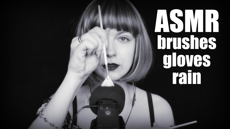 ASMR BW Triggers: BRUSHES and GLOVES 🖤 Massage of your head 🖤 Sounds of rain