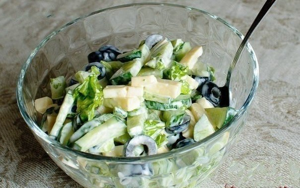 Салат с оливками маслинами
