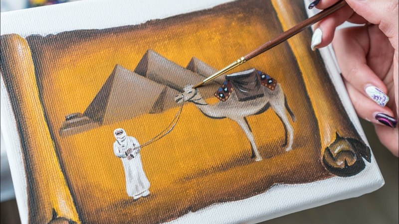 The Papyrus with Egyptian Pyramids and Camel - Acrylic painting Homemade Illustration (4k)