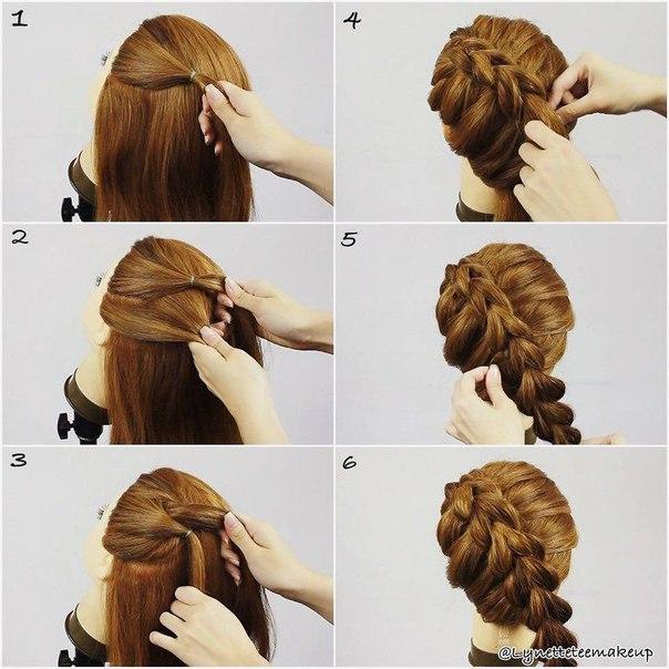 Объемные косы на средние волосы своими руками фото пошагово