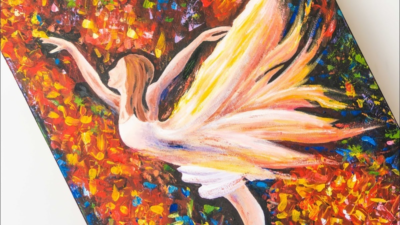 A Ballerina Dances like a Butterfly - Acrylic painting / Homemade Illustration (4k)