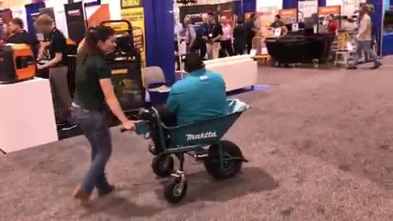 His powered wheelbarrow runs off the same battery platform as every Makita power tool. 2 casters wheels in the back means you do