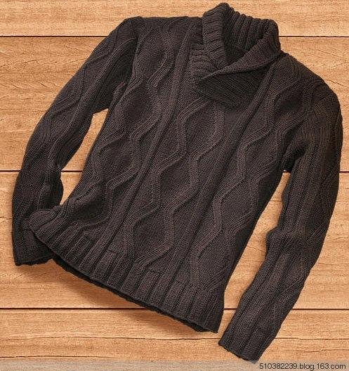 Мужской пуловер спицами. (6 фото) - картинка