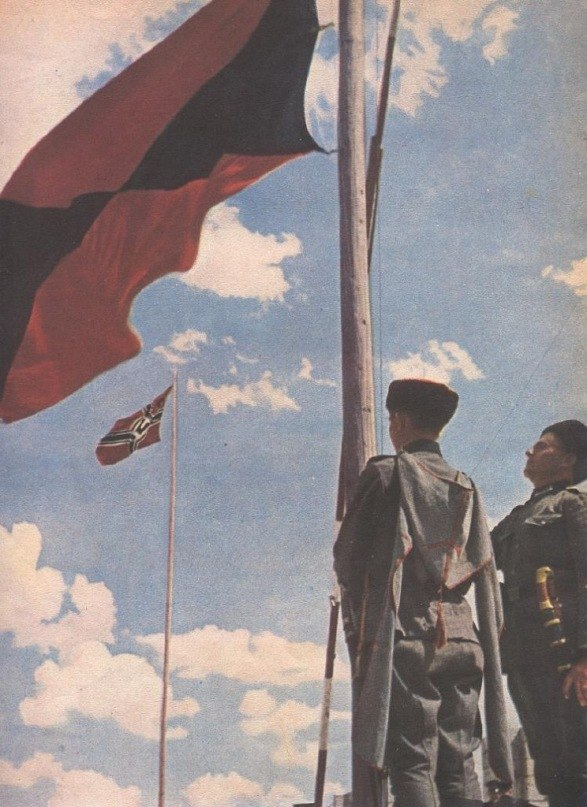 Фотографии второй мировой войны.. 0042_Два флага, одна борьба - казаки на
