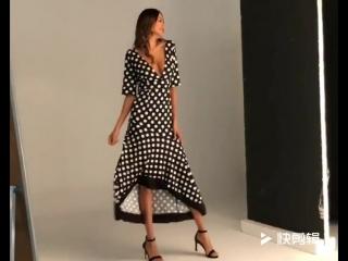 Women's Summer Dress Irregular Frill Large Size Dress Deep V Collar Halter Dot Dress