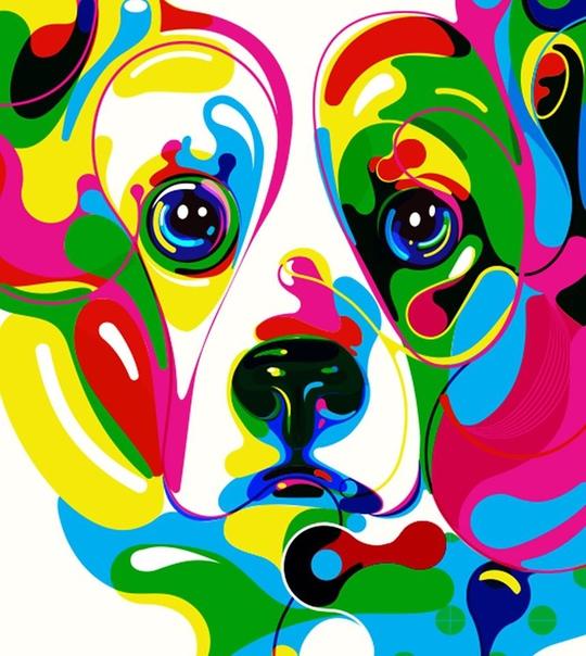 Яркие картины собак Марины Охроменко Вихревые пятна, меха и пестрые глаза характеризуют эмоциональных собак на цифровых иллюстрациях Марины Охроменко. В надежде запечатлеть разную степень