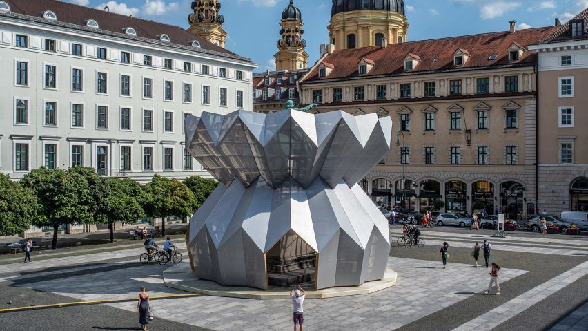 Studio Morison wraps statue of Maximilian I in Munich plaza with origami-like pavilion