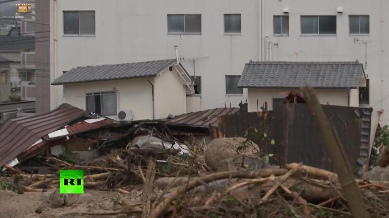 Aftermath of torrential rain mudslides in Japan as at least 80 killed